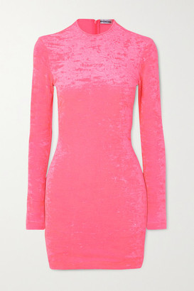 Balenciaga Stretch Crushed-velvet Mini Dress - Pink