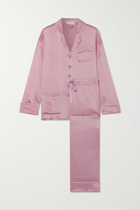 Olivia von Halle Coco Crystal-embellished Silk-satin Pajama Set - Lavender