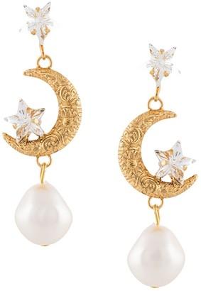 Jennifer Behr Pearl Embellished Moon Earrings