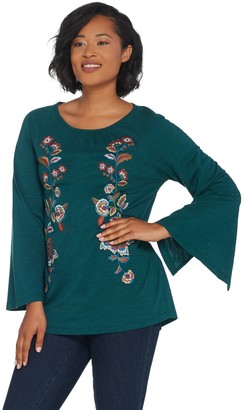 Belle By Kim Gravel Belle by Kim Gravel Slub Knit Boho Embroidered Top