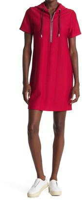 Tommy Hilfiger Textured Half Zip Sweatshirt Dress