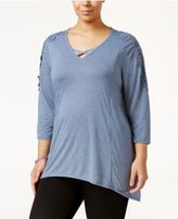 Style&Co. Style & Co Plus Size Crocheted Bridge-Hem Top, Only at Macy's