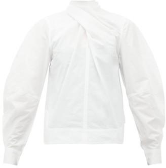 Ganni Twist-neck Cotton-poplin Blouse - White