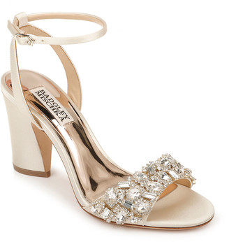 Badgley Mischka Jill Satin Block-Heel Sandals