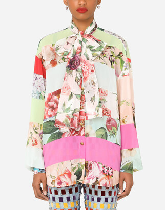 Dolce & Gabbana Georgette Pussy-Bow Shirt With Mixed Prints