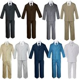 Unotux 5pc Baby Toddler Boy Formal Suit Black Brown Gray Khaki Green White Taupe Sm-20
