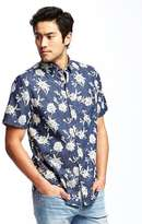 Old Navy Regular-Fit Floral Chambray Shirt For Men