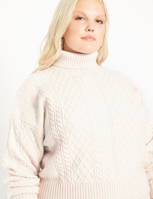 ELOQUII Crop Turtleneck Cable Sweater