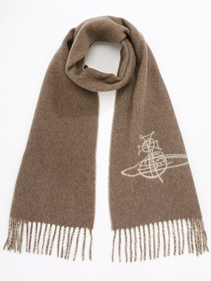 Vivienne Westwood Double Face Orb Scarf - Brown