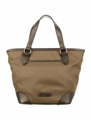 Burberry Leather-Trimmed Nylon Tote Olive