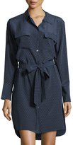 Equipment Delany Silk Polka-Dot Shirtdress, Dark Blue