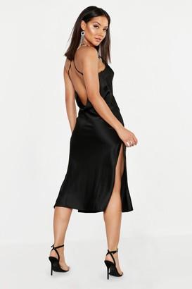 boohoo Satin Cowl Back Midi Slip Dress
