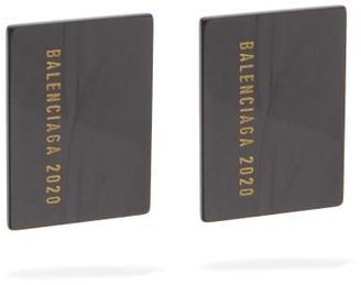 Balenciaga Credit Card Logo-plaque Drop Earrings - Womens - Black