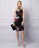 Le Château Floral Print Knit Crêpe Halter Dress