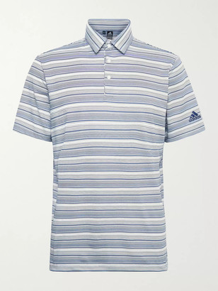 adidas Striped Recycled Stretch-Jersey And Mesh Polo Shirt