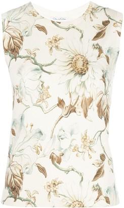 Oscar de la Renta Floral-Print Sleeveless Top