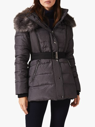 Phase Eight Brisa Check Faux Fur Puffer Coat, Charcoal