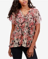 Lucky Brand Tiered Lace-Up Top