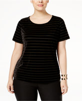 INC International Concepts Plus Size Burnout-Striped Velvet Top, Only at Macy's
