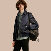 Burberry Satin Bomber Jacket With Check Undercollar , Size: Xl, Blue