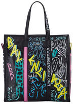 Balenciaga Bazar Medium Graffiti-Print Leather Shopper Tote Bag
