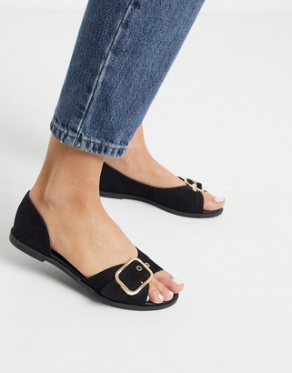 Qupid summer flat shoes in black