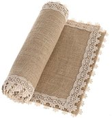 Ling's moment 12x108 Inch Burlap Cream Lace Hessian Table Runner for Vintage Wedding, Christmas centerpiece Bridal & Baby Shower Kitchen Decor, Winter Decoration