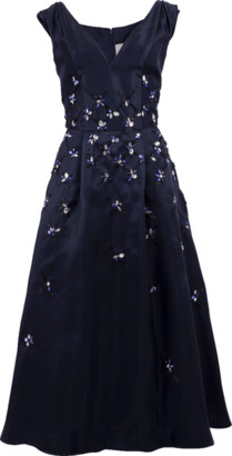 Carolina Herrera V-Neck Embroidered Dress