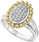 Lagos Sterling Silver and 18K Gold Oval Diamond Ring with Caviar Beading