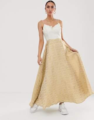 Nesavaali cami strap midaxi dress with prom skirt-Gold