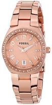 Fossil AM4508 Women's Serena Rose Gold Stainless Steel Watch w/ Crystal Accents