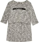 River Island Mini girls grey slogan layered dress