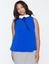 ELOQUII Plus Size Sleeveless Soft Collared Tee
