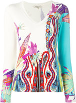 Etro multiple prints V-neck jumper