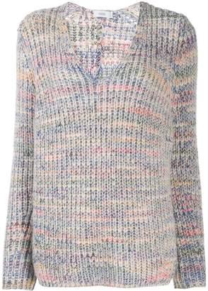 Closed V-neck chunky knit sweater