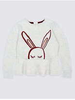 Marks and Spencer Cotton Rich Frill Hem Bunny Sweatshirt (3 Months - 6 Years)