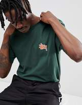 Stussy T-Shirt With Checkers Back Print In Forest Green