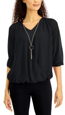 JM Collection Three-Quarter-Sleeve Necklace Top, Created For Macy's