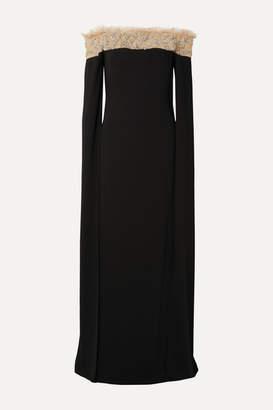 Reem Acra Off-the-shoulder Embellished Tulle-trimmed Crepe Gown - Black