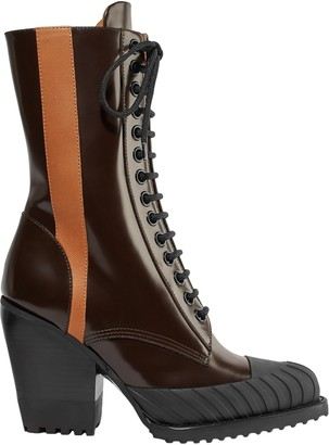 Chloé Rylee Glossed-leather Ankle Boots