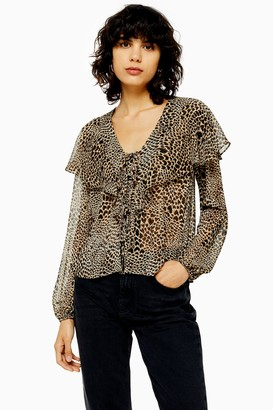 Topshop Womens Tall Leopard Heart Print Blouse - True Leopard