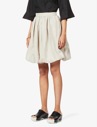 Patou Generous puffed-hem cotton and linen-blend skirt