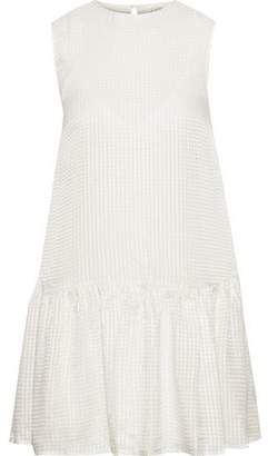 CAMI NYC The Rina Gathered Checked Silk-jacquard Mini Dress