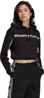 adidas Women's Logo Taped Cropped Hoodie