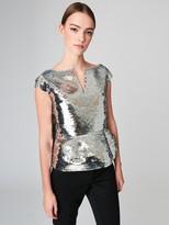 Oscar de la Renta Cap-Sleeve Fishscale Sequin Embroidered Blouse
