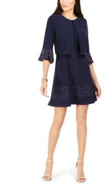 Jessica Howard Petite Lace-Trim Dress & Bell-Sleeve Jacket