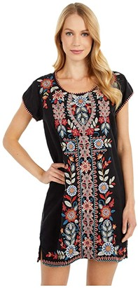 Johnny Was Maisie Peasant Tunic Dress (Black) Women's Clothing