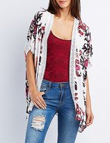 Charlotte Russe Floral Crochet-Trim Tunic Kimono