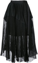 Sacai layered pleated skirt - women - Polyester/Cotton/Cupro - 1