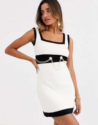 Ronny Kobo anamaree faux pearl micro mini dress with chain belt-Cream